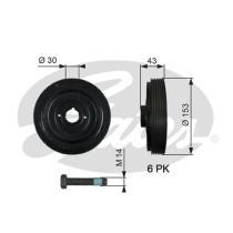 Gates TVD1005A - Amortiguador de vibraciones de torsión (Damper)